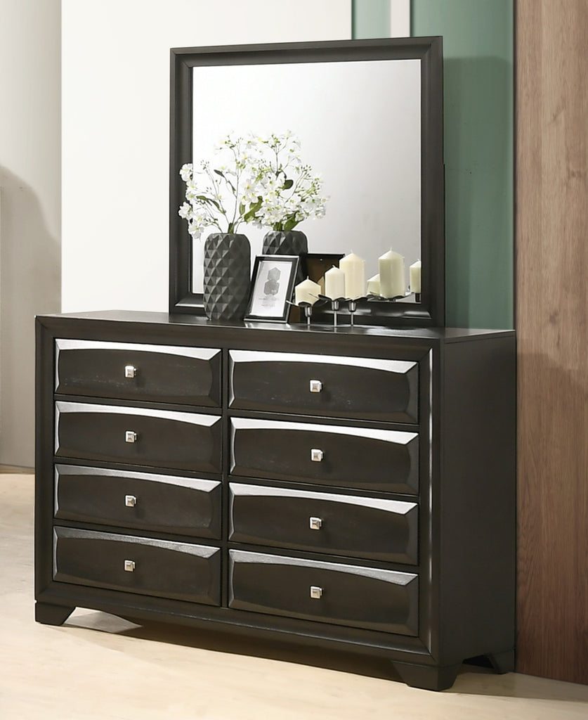 asger antique gray finish wood bedroom set with