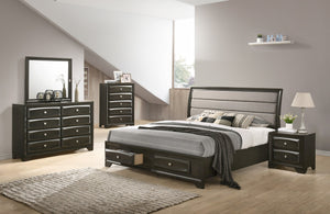 Asger Antique Gray Finish Wood Bedroom Set with Upholstered Queen Bed, Dresser, Mirror, Nightstand, Chest
