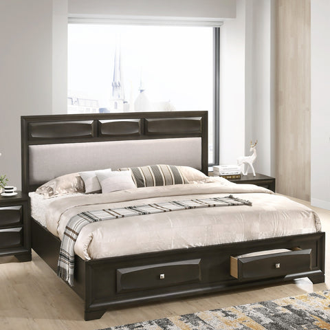 Oakland Antique Gray Finish Wood Queen Size Storage Platform Bed