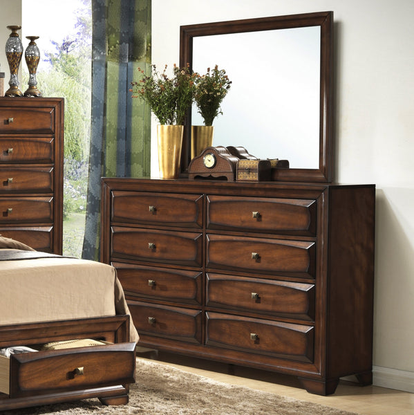 Asger Antique Oak Finish Wood Bed Room Set, QUEEN & KING Storage Bed, Dresser, Mirror, 2 Night Stands