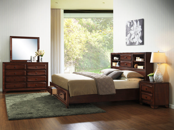 Asger Antique Oak Finish Wood Bed Room Set, King & Queen Storage Bed, Dresser, Mirror, Night Stand
