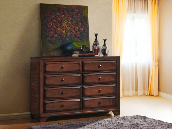 Oakland 139 Antique Oak Finish Wood 6 Drawers Dresser and Mirror