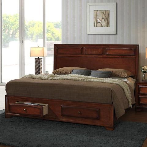 Oakland 139 Antique Oak Finish Wood Queen Size Storage Platform Bed
