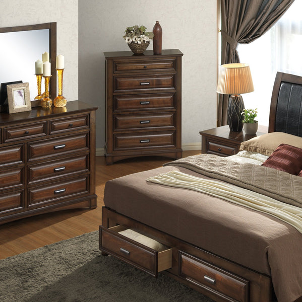 Broval 179 Light Espresso Finish Wood 5 Drawers Chest
