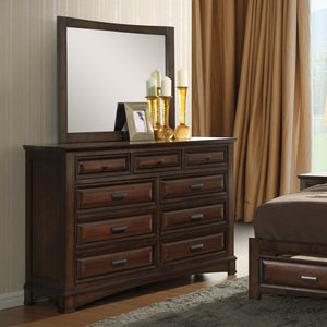 Broval 179 Light Espresso Finish Wood 9 Drawers Dresser and Mirror