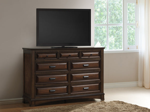 Broval 179 Light Espresso Finish Wood 9 Drawers Dresser