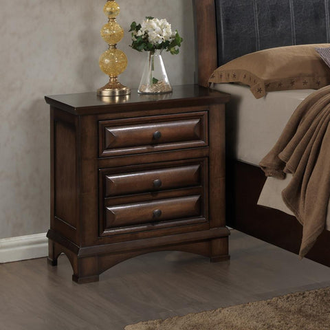Broval 179 Light Espresso Finish Wood 2 Drawers Night Stand