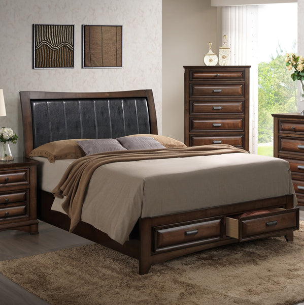 Broval 179 Light Espresso Finish Wood QUEEN & KING Size Storage Platform Bed