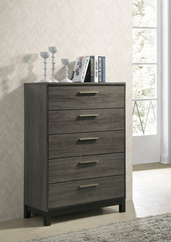 Ioana Antique Grey Finish Wood 5 Drawers Chest