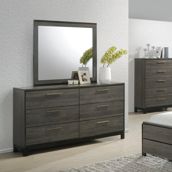 Ioana Antique Grey Finish Wood Dresser and Mirror