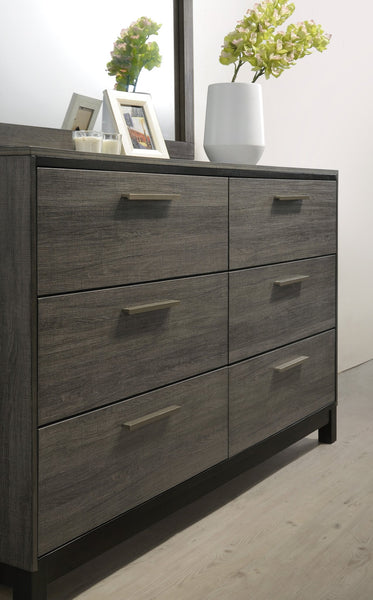 Ioana Antique Grey Finish Wood 6 Drawers Dresser