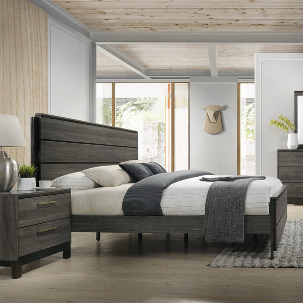 Ioana Antique Grey Finish Wood (QUEEN & KING) Size Bed