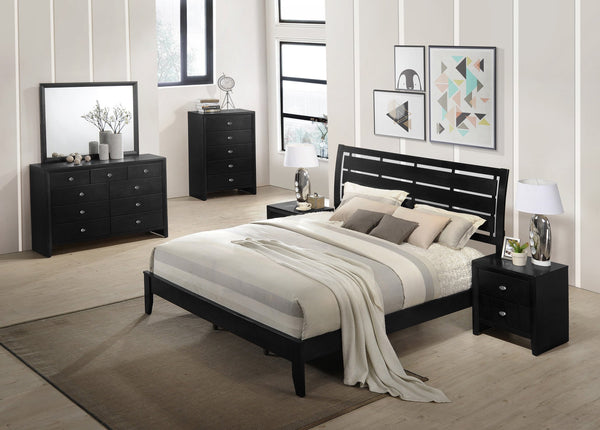 Gloria Black Finish Wood Bed Room Set, QUEEN & KING Bed, Dresser, Mirror, 2 Night Stands, Chest