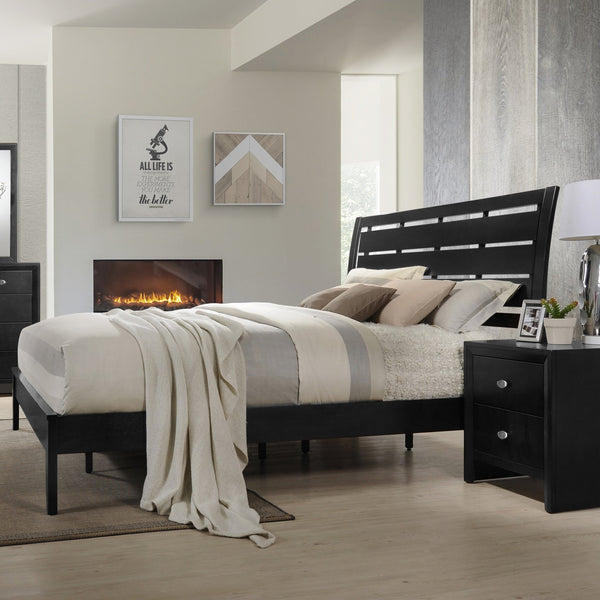 Gloria Black Finish Wood Bed Room Set, Queen Bed, Dresser, Mirror, 2 Night Stands, Chest