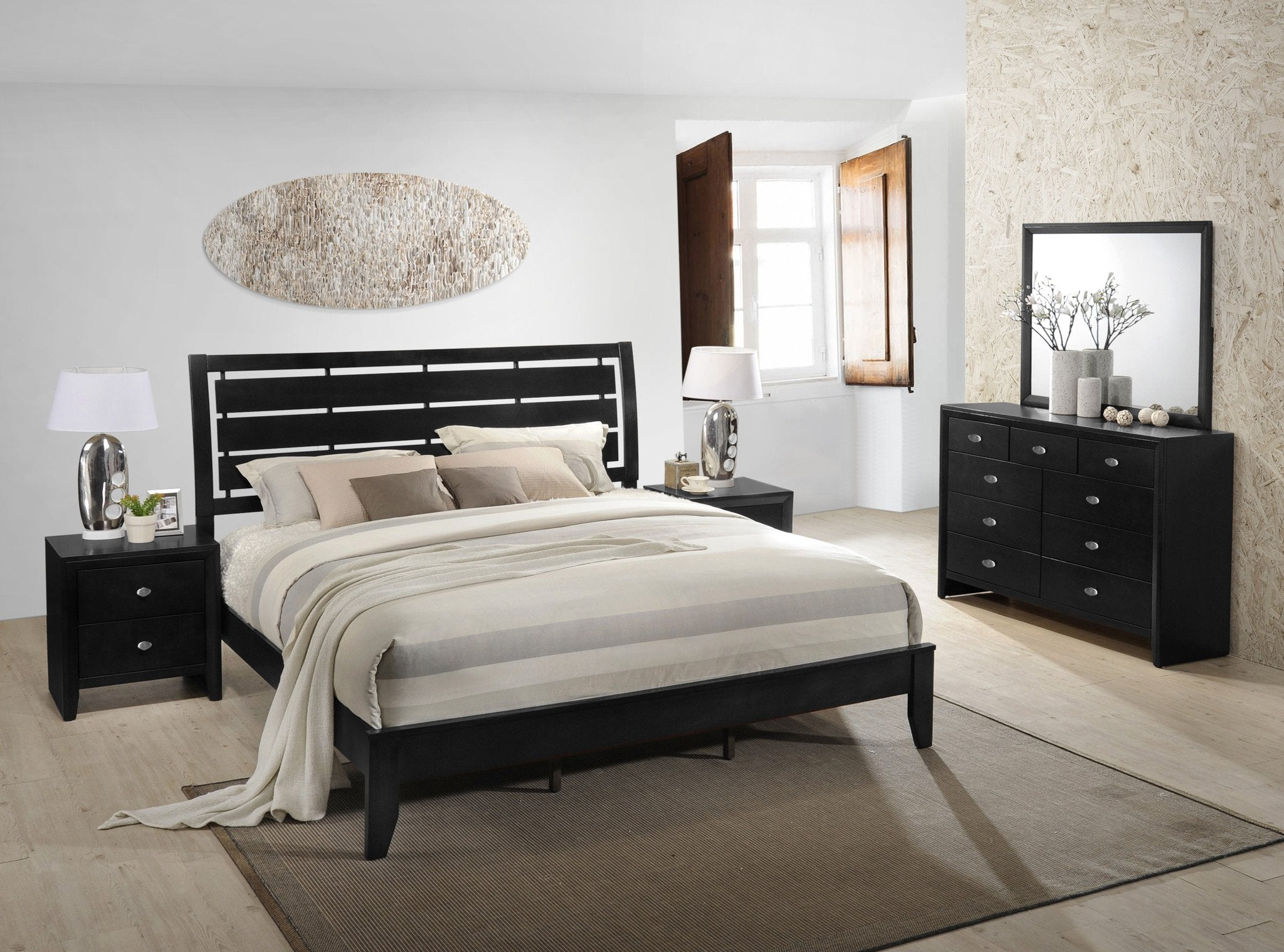 Ecrille 350 Black Wood Leather Bed Room Set - QUEEN & KING Bed   Dresser   Mirror   2 Night Stand