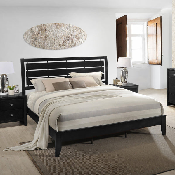 Ecrille 350 Black Wood Leather Bed Room Set - QUEEN & KING Bed Dresser Mirror Night Stand Chest