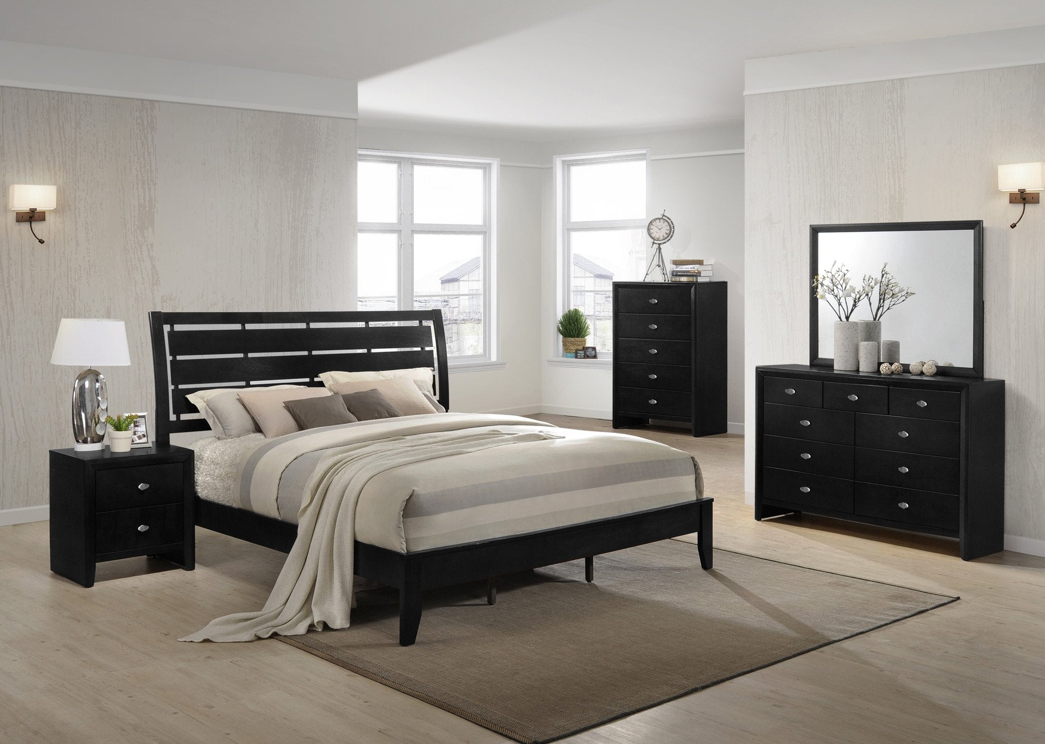 Ecrille 350 Black Wood Leather Bed Room Set - Queen Bed   Dresser   Mirror   Night Stand   Chest