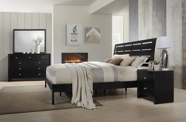 Ecrille 350 Black Wood Leather Bed Room Set - QUEEN AND KING Bed Dresser Mirror Night Stand