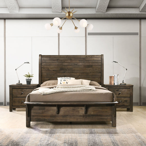Pavita Sleigh QUEEN & KING Bed with Dresser, Mirror, 2 Night Stands