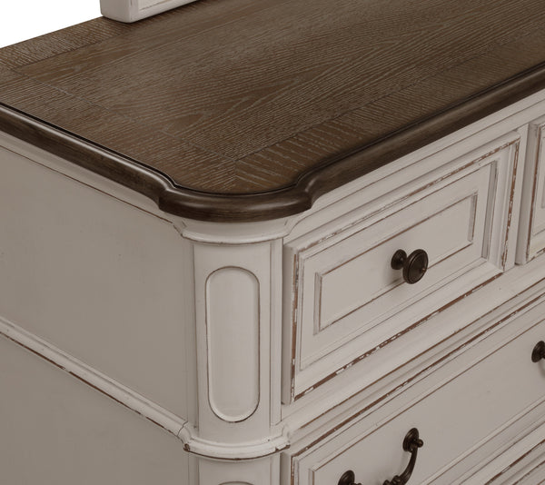 Laval Antique White and Oak Wood Chest