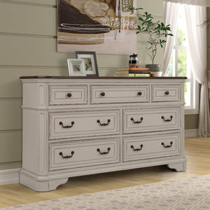 Laval Antique White and Oak Wood Dresser