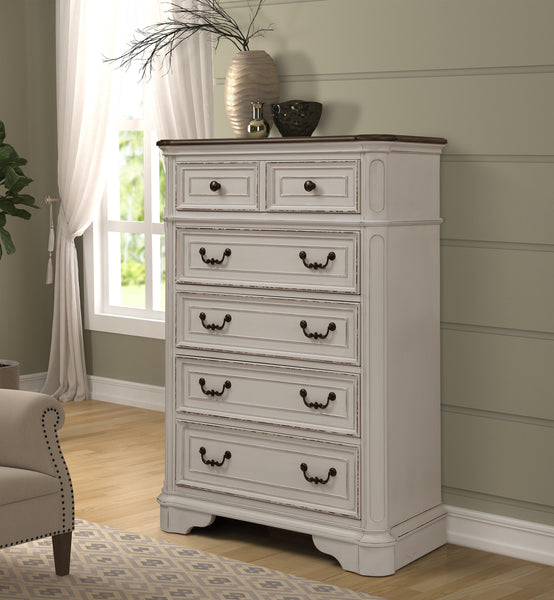 Laval Antique White and Oak Wood Bedroom Set, Upholstered QUEEN & KING Bed, Dresser, Mirror, Nightstands, Chest