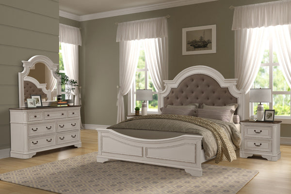 Laval Antique White and Oak Wood Bedroom Set, Upholstered QUEEN & KING Bed, Dresser, Mirror, Two Nightstands