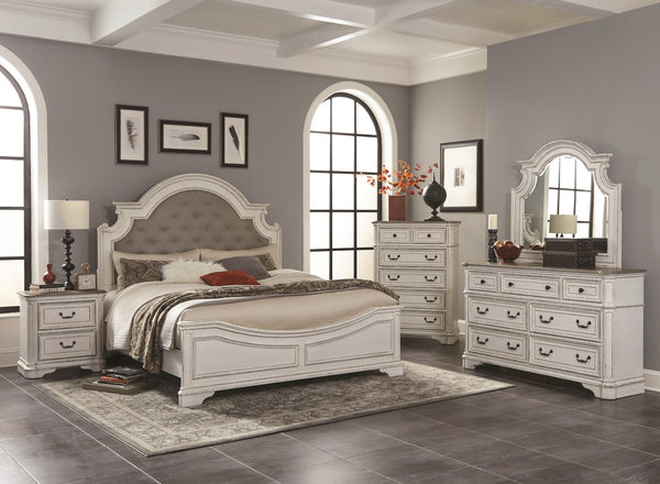 Laval Antique White and Oak Wood Bedroom Set, Upholstered QUEEN & KING Bed, Dresser, Mirror, One Nightstand, Chest