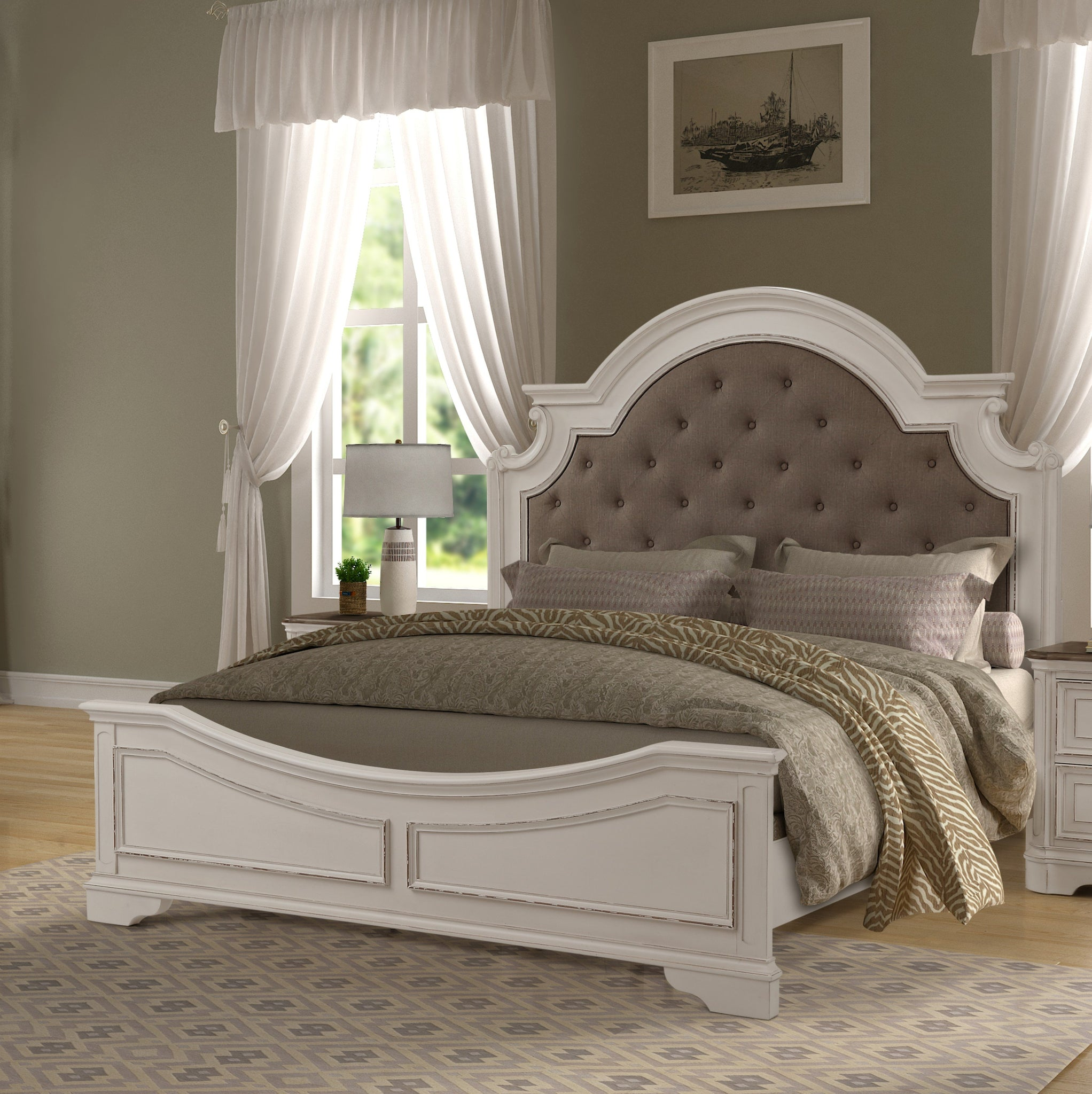 Laval Antique White and Oak Wood Upholstered KING & QUEEN Bed