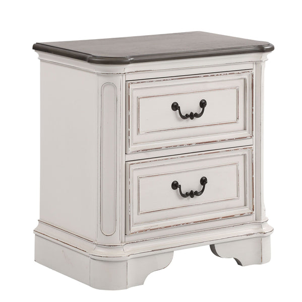 Laval Antique White and Oak Wood 2-Drawer Nightstand