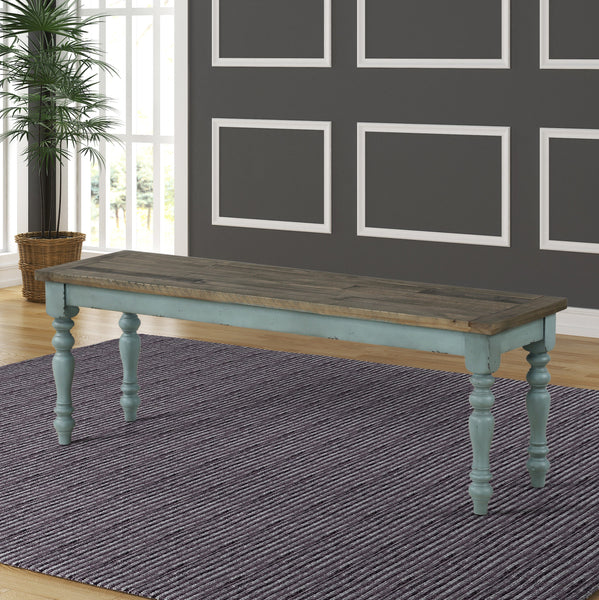 Prato Two-Tone Wood Upholstered Dining Bench