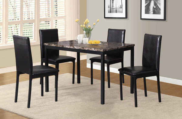 Noyes Faux Leather Seat Metal Frame Black Dining Chairs, Set of 4