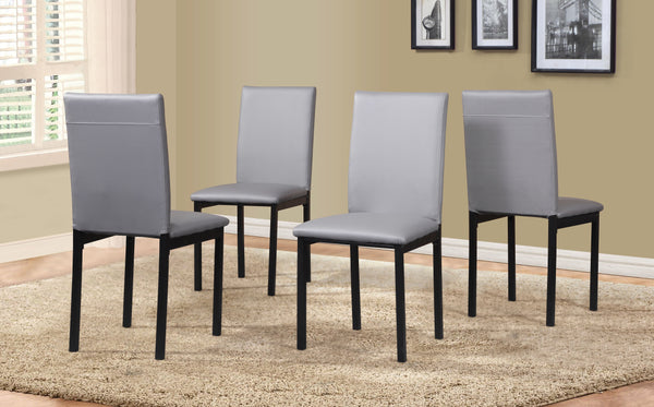 Noyes Faux Leather Seat Metal Frame Gray Dining Chairs , Set of 4