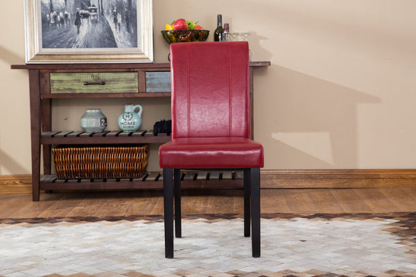 Urban Style Solid Wood Leatherette Padded Parson Chair - Set of 2