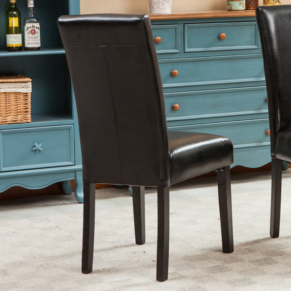 Donatello Black Urban Style Solid Wood Leatherette Padded Parson Chair, Set of 2