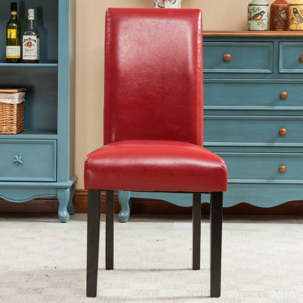 Donatello Red Urban Style Solid Wood Leatherette Padded Parson Chair, Set of 2