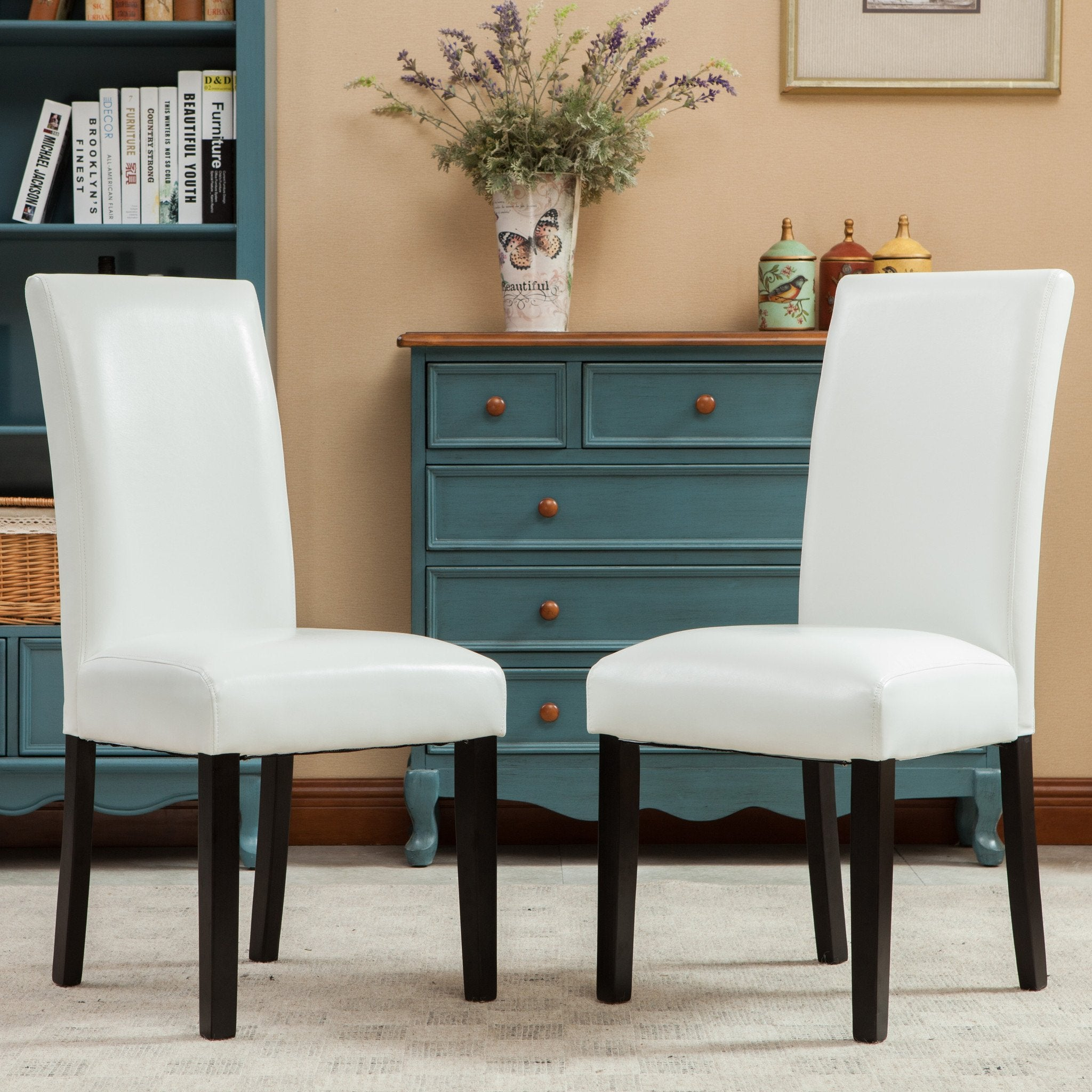 Donatello White Urban Style Solid Wood Leatherette Padded Parson Chair, Set of 2