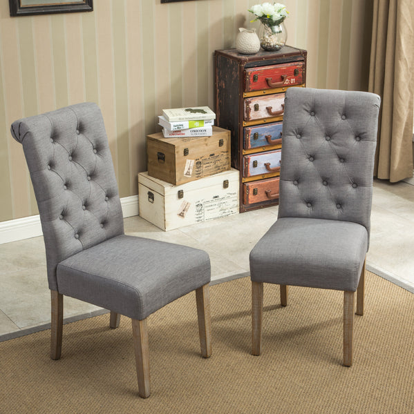 Habit Grey Solid Wood Tufted Parsons Dining Chair ,Set of 2
