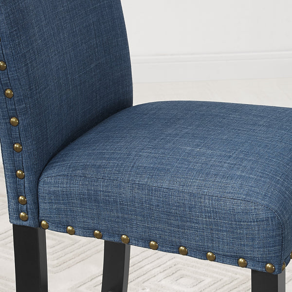 Biony Blue Fabric Dining Chairs with Nailhead Trim, Set of 2