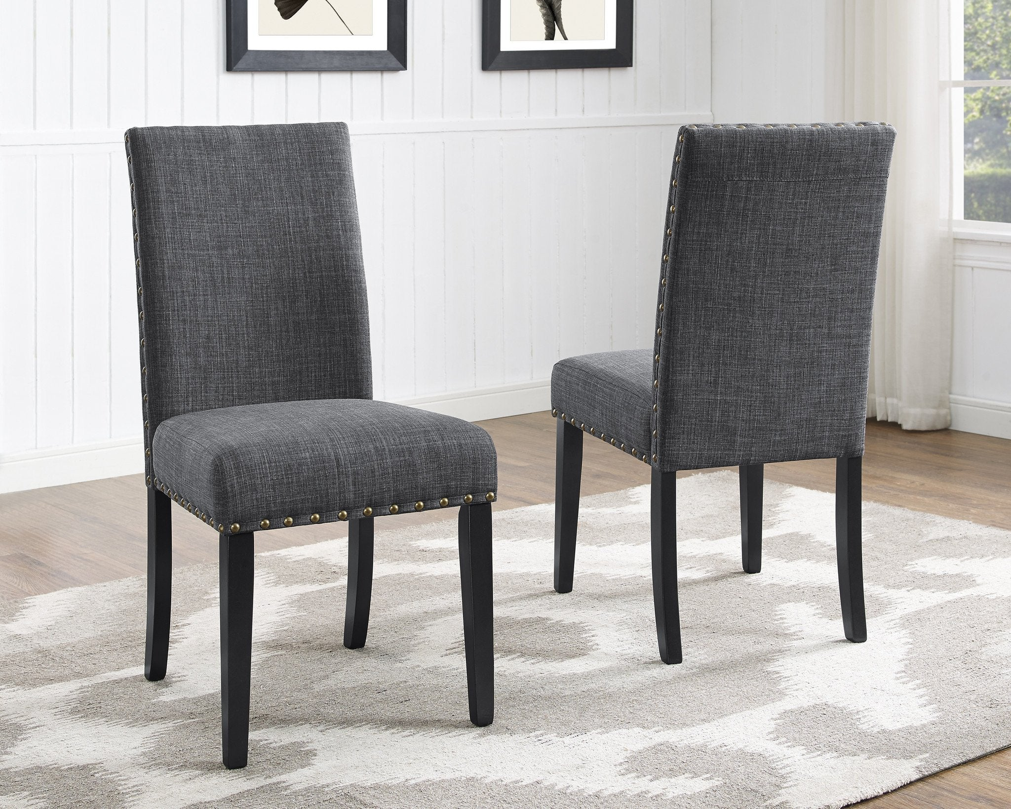 Biony Gray Fabric Dining Chairs with Nailhead Trim, Set of 2