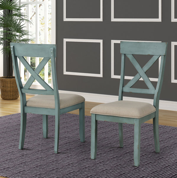 Prato Two-Tone Wood Cross Back Upholstered Dining Chairs, Set of 2