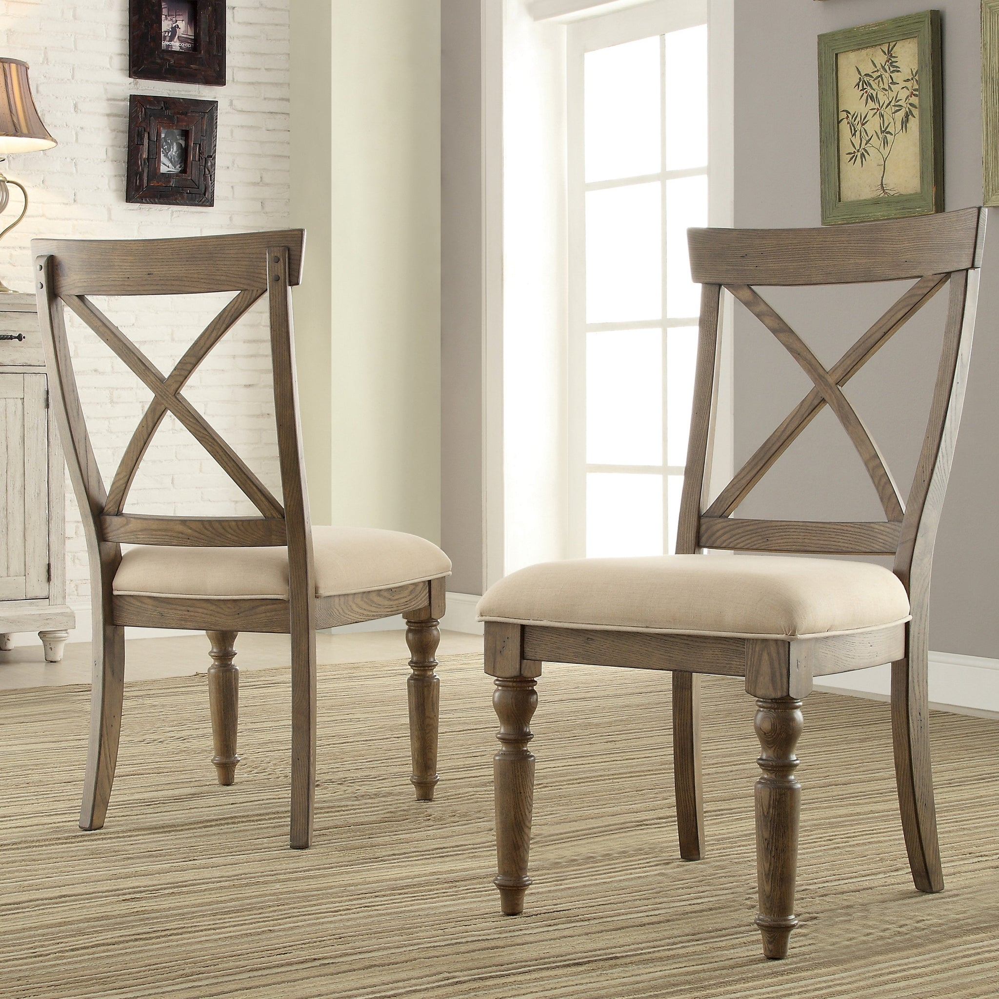 Trani Weathered Driftwood Finish Cross Back Dining Chairs, Set of 2