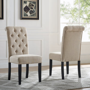 Leviton Solid Wood Tufted Asons Dining Chair (Set of 2), Tan
