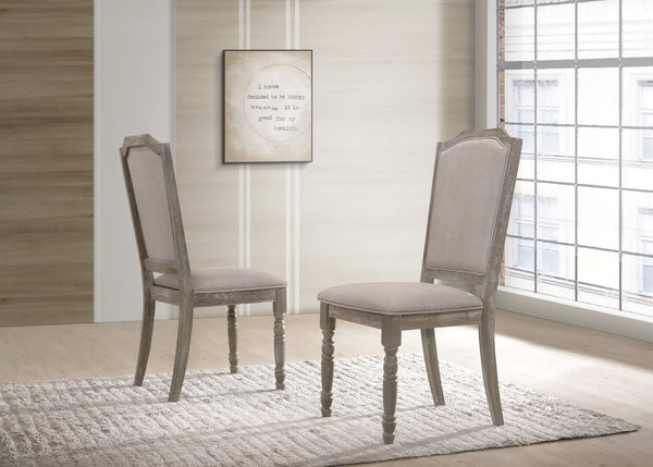 Ferran Wood Pedestal Dining Chair in Reclaimed Gray, Set of 2