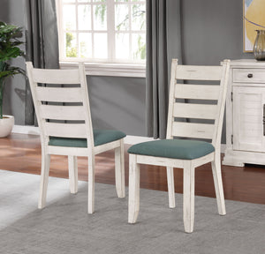 Florina Antique White Wood Ladderback Upholstered Dining Chairs, Set of 2
