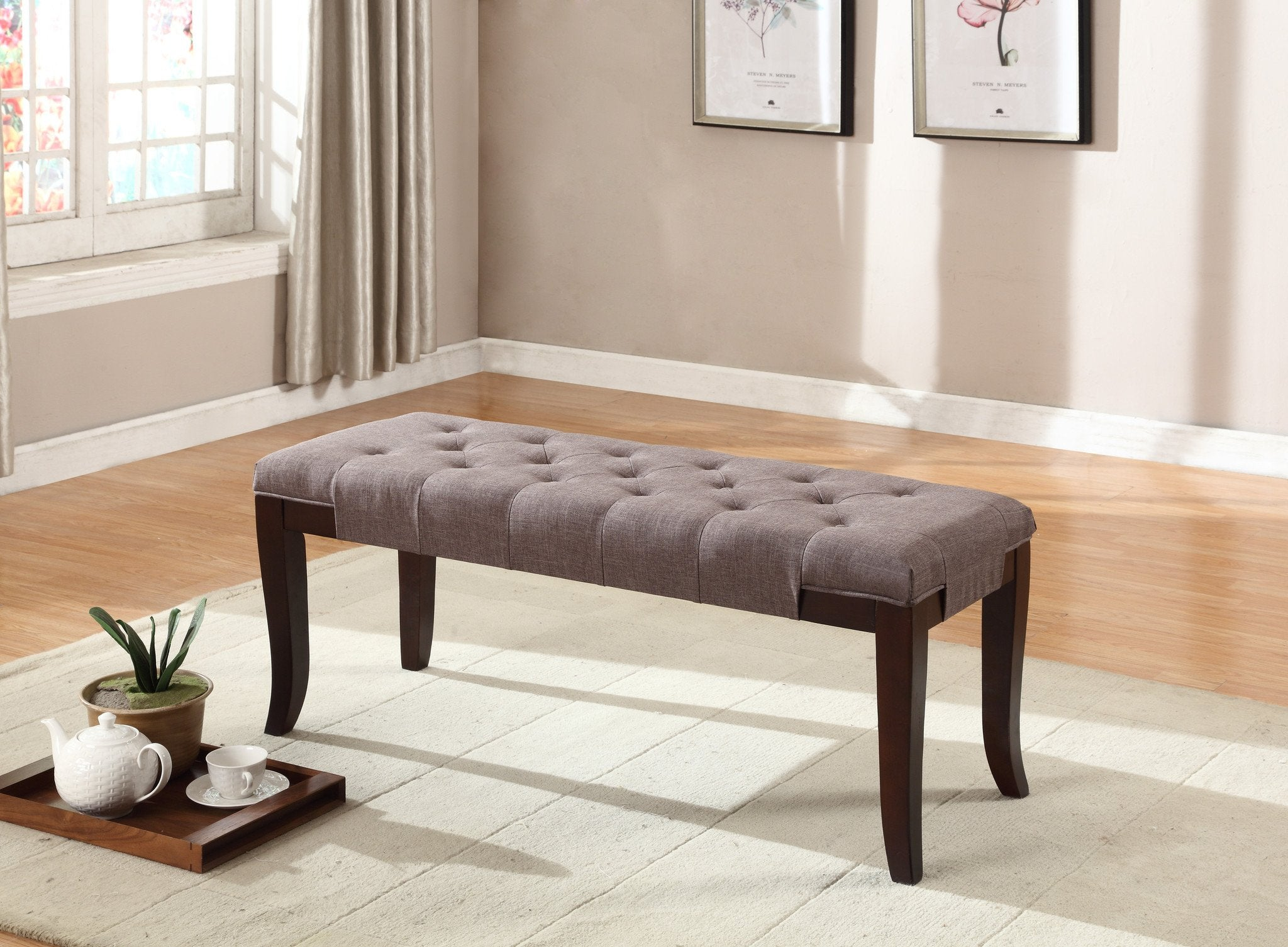 Linon Brown Fabric Tufted Ottoman Bench