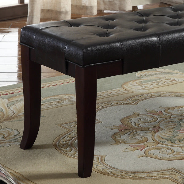 Linon Espresso Leather Tufted Ottoman Bench