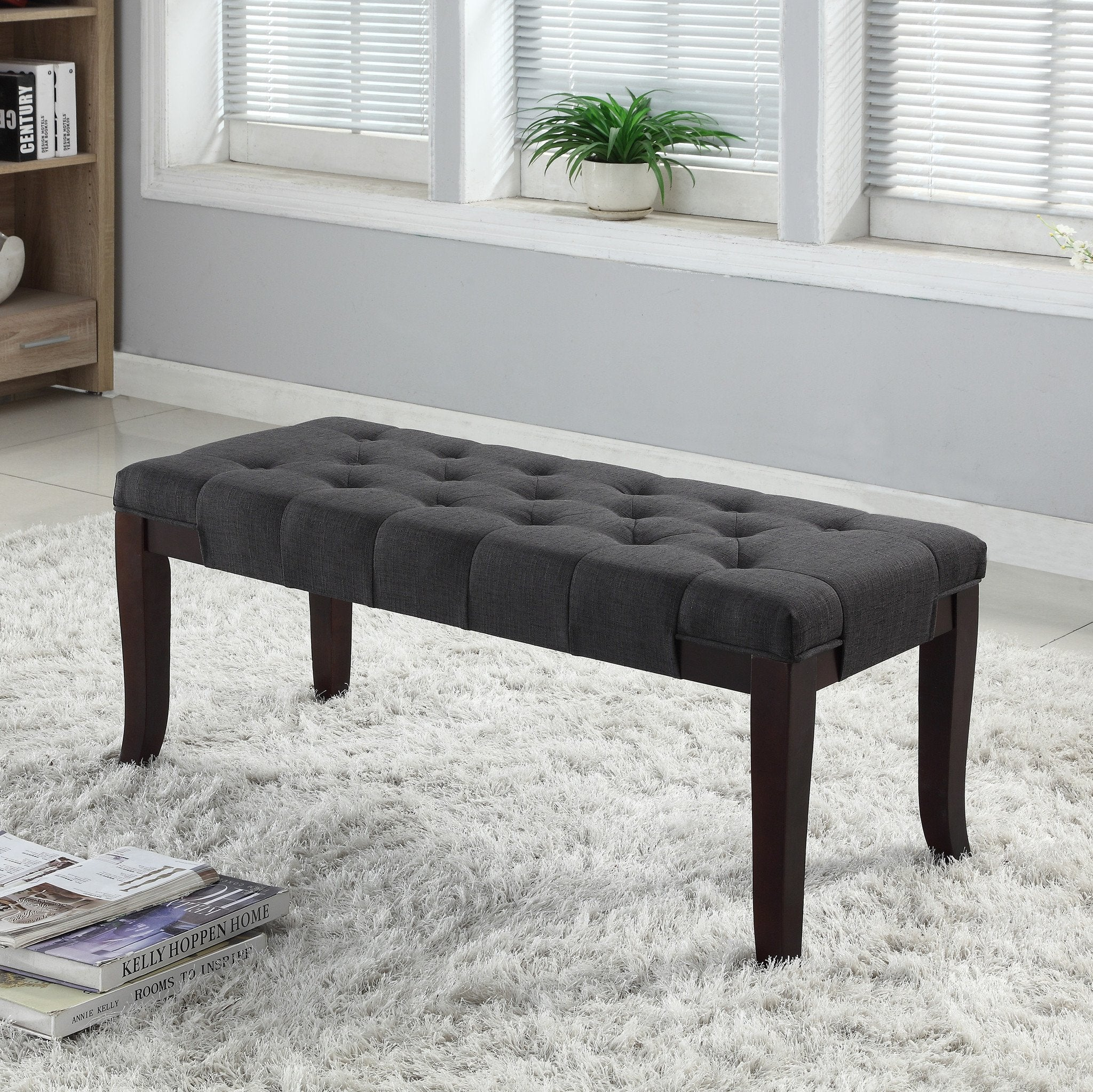 Linon Grey Fabric Tufted Ottoman Bench