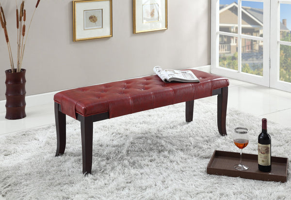 Linon Red Leather Tufted Ottoman Bench