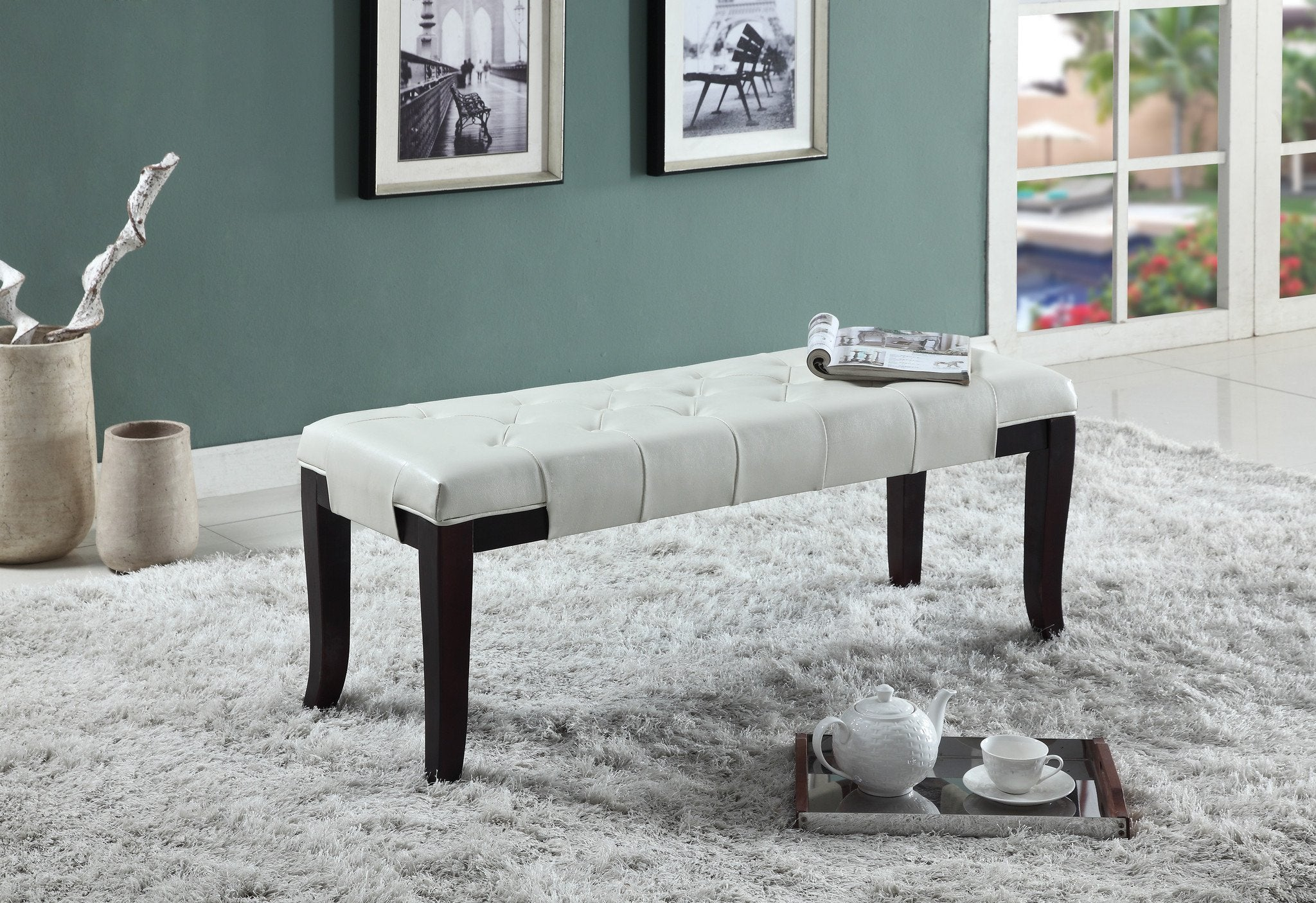 Linon White Leather Tufted Ottoman Bench